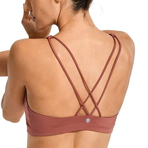 CRZ YOGA Donna Imbottito Reggiseno Sportivo Yoga Spalline Incrociate Top Senza Ferretto Bronzer Rosso XS