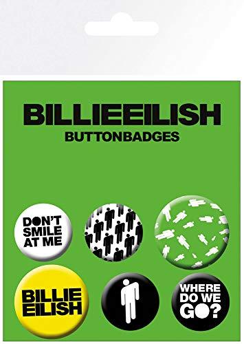 Preisvergleich Produktbild empireposter Billie Eilish - Stickman - 6 Ansteck Buttons für Fans - Größe je 25 / 32 mm Ø