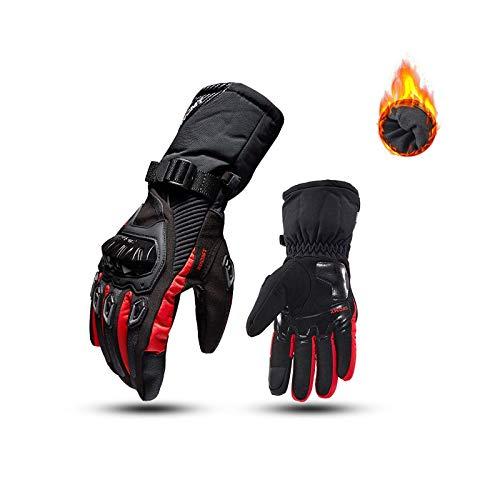 3D.Mr.Señor SUOMY - Guanti invernali per moto, guanti da equitazione, touch screen, impermeabili, antivento, con protezione per dita e palmo con palmo rigido (rosso, M)