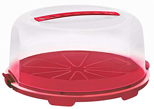 Rotho Fresh hohe Tortenglocke mit Haube und Tragegriff, Kunststoff (PP) BPA-frei, rot/transparent, (35,5 x 34,5 x 16,5 cm)
