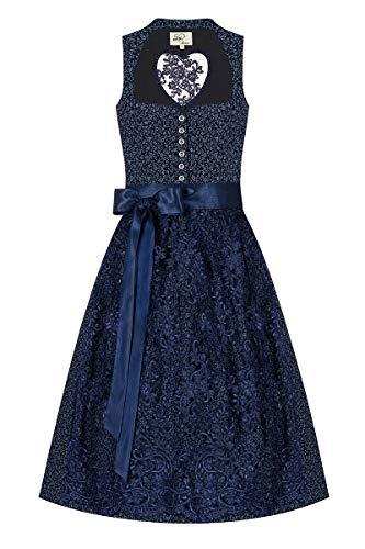 Artmann's Herzl Midi Dirndl 65er dunkelblau gemustert mit Spitzenschürze Myriam 009202, auf 99 Stück limitiert, geblümte mit elegantem Schalkragen, Herzausschnitt am Rücken mit eingesetzter Spitze 42