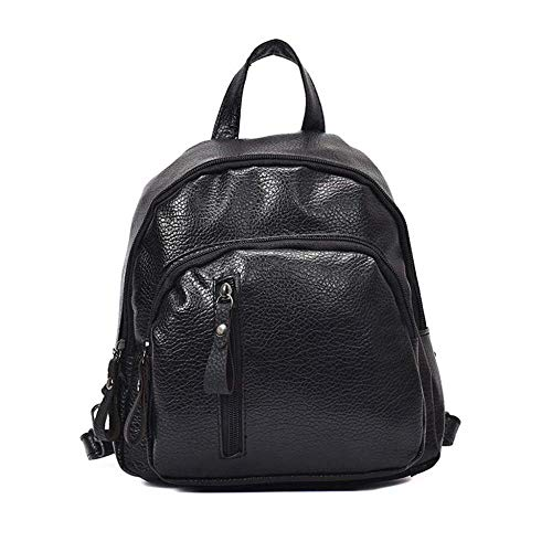 Leichte Business Dayback kleine wasserdichte Leder Schulrucksack Damen Casual Rucksack Multi-Pocket TravelLite Rucksack (schwarz)
