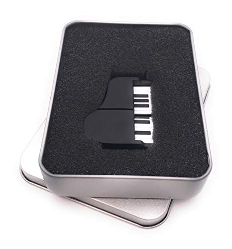 Onwomania Piano piano muziek-instrument zwart USB-stick in aluminium geschenkdoos diverse maten 8 GB USB 2.0