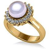 Anillo de compromiso con halo de Perla y Diamante 14k, oro amarillo, 8 mm (0,36ct), anillo de compromiso de oro amarillo, anillo de compromiso, Por siempre uno, anillo de compromiso