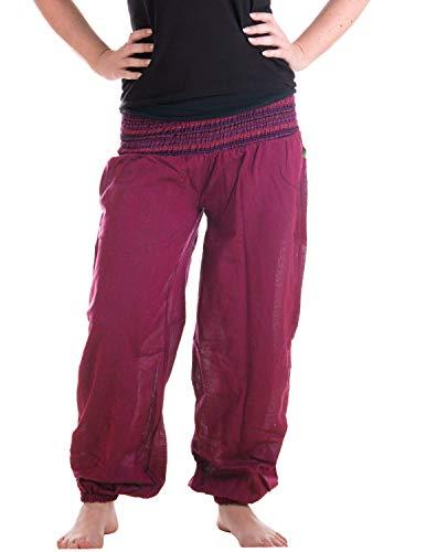 Vishes – Alternative Bekleidung – Sommer Chino Haremshose aus Baumwolle mit super elastischem Bund – handgewebt (One Size, blaurosa)