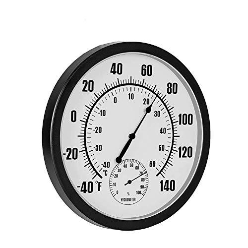 QKa Thermometer (D = 10 Zoll) Großes dekoratives, wandmontiertes Innen- und Außenthermometer mit genauen Celsius- und Fahrenheit-Maßen für Pool und Terrasse in der Garage