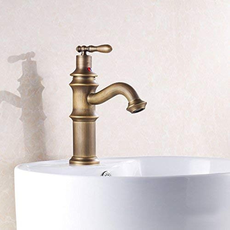 WYJW Europischer antiker kupferner heier und kalter Einhand-Toilettenhahn