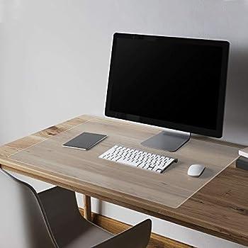Thicken Clear Writing Desk Pad Transparent Non-Slip Desk Writing Mat Heat Resistant Waterproof PVC Round Edge Durable Desk Protect Mat Anti-Static Writing Mat Table Protector 2mmThick 16 x 32 Inch