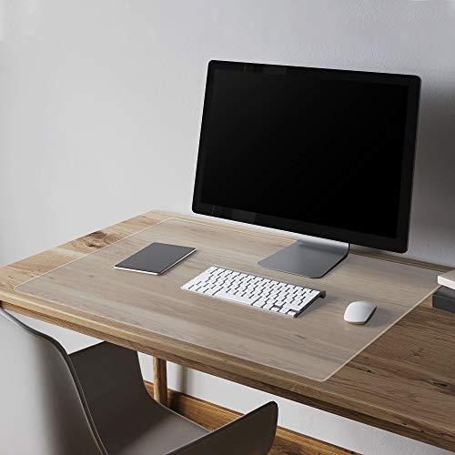 Thicken Clear Writing Desk Pad, Transparent Non-Slip Desk Writing Mat, Heat Resistant Waterproof PVC Round Edge Durable Desk Protect Mat Anti-Static Writing Mat Table Protector(2mmThick 16 x 32 Inch)