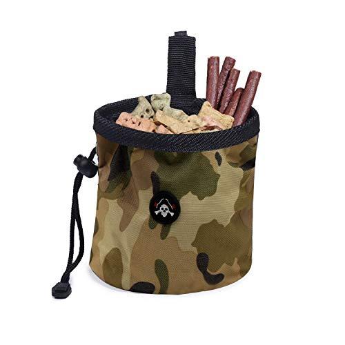 Haustier Trainingstasche, Hund Snacks Tasche Hunde Leckerlitasche Training Wasserdichte Outdoor Futterbeutel Mini Hundefuttertasche mit verstellbarem Seil zum Hundetraining und Gehen,Armeegrün