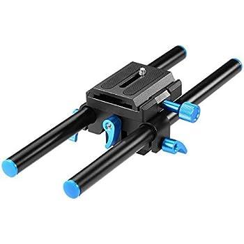 "Neewer Universal Aluminum 15mm Rail Rod Support System High Riser DSLR Camera Mount Baseplate 9.8""/25cm Long with 1/4"" Screw Quick Shoe Plate for Follow Focus Matte Box"