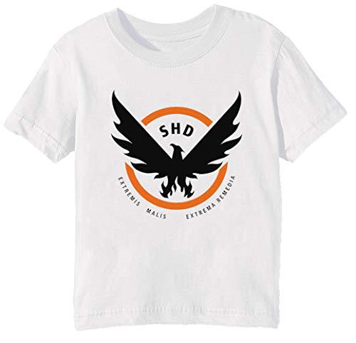 Erido The Division Enfants Unisexe Garçon Filles T-Shirt Cou D'équipage Blanc Coton Manches Courtes Taille 2XS Kids Boys Girls T-Shirt XX-Small Size 2XS