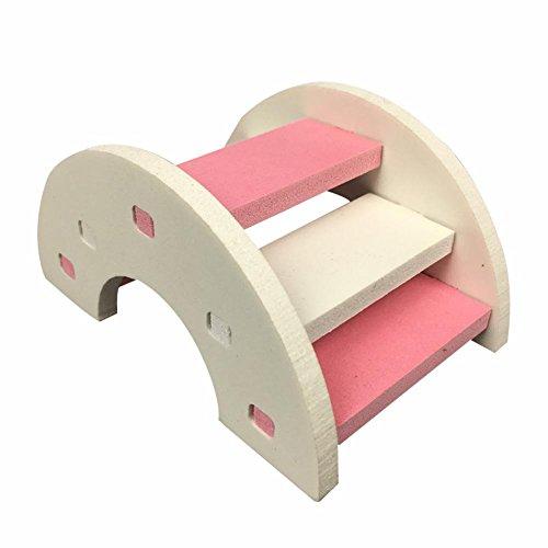 lossomly Tobogán para hámster, escalera, de madera, resistente al agua, escalera, hámster, nido, juguete para hámster, ratón, cobaya, erizo, rosa, azul y verde