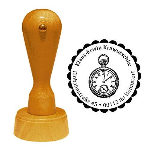 Stempel adresstempel » zakhorloge » diameter ca. Ø 40 mm - met persoonlijk adres en motief - zakhorloge horloge herenhorloge