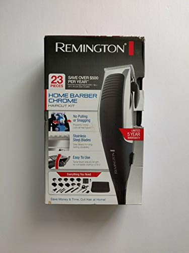 Remington Remington 23-piece home barber chrome haircut kit, hair clippers, black/grey, hc1085