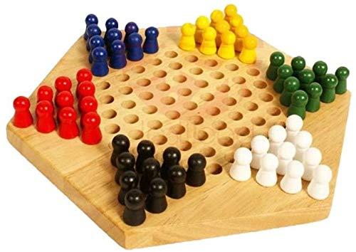 zyh Hölzerne chinesische Steine,klassisches Schachbrettspielset,für Kinder Kinder Erwachsene bis zu sechs Spieler