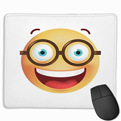 Nettes Gaming-Mauspad, Schreibtisch-Mauspad, kleine Mauspads für Laptop-Computer, Mausmatte Blauer Nerd Niedliche Emoticon-Brille auf gelbem Geek-Schwarz