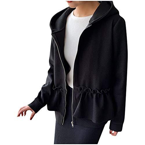Damen Mantel Elegant Winter Solide Oberbekleidung Rüsche Plissee Jacke Reißverschluss Langarm Kapuzenmäntel