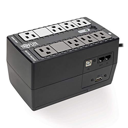 Tripp Lite 650VA UPS Battery Backup Surge Protector, Small UPS with USB, Desktop UPS, 330W, 8 Outlets, 5 ft. Cord, Black (INTERNET650U1)