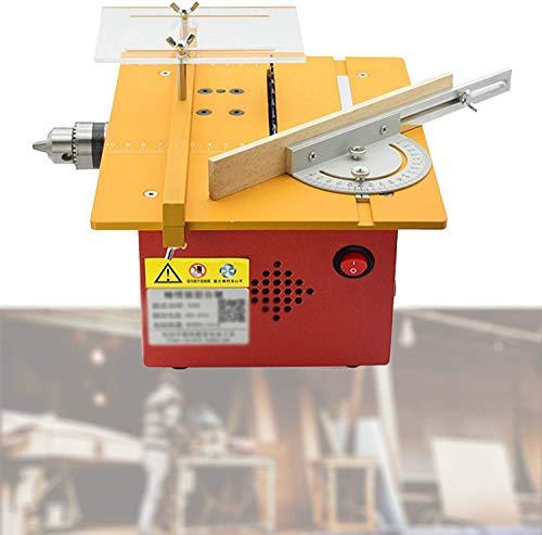 HTDHS Motosierra de carpintería multifuncional, pequeña máquina de cortar la mesa de corte eléctrica, regulación rápida de la velocidad, ranura para el modelo manual de bricolaje, tablero de PCB, amar