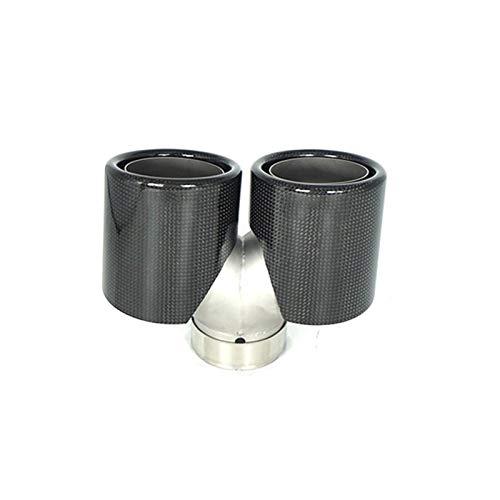 XHSM Exterior 1 Uds Entrada 60mm Salida 89mm Longitud 150mm Supercorta Doble Fibra De Carbono Puntas De Escape Silenciador Tubo Universal Coche (Color : Lustroso)