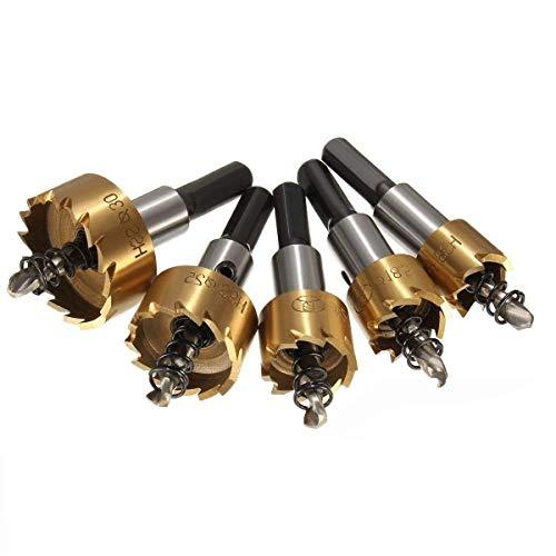 PANOVO 5pcs Power Drill Tools Set High Speed Steel HSS Drill Bit Hole Saw Set Stainless Steel Metal Alloy Kit 16mm/18mm/20mm/25mm/30mm