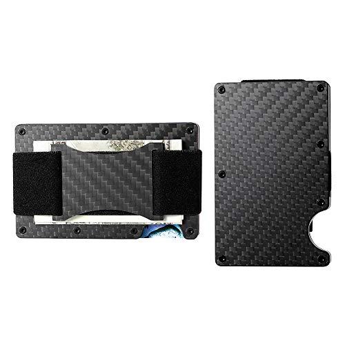 Minimalist Aluminum Wallet, Slim Money Clip Metal Wallet RFID Front Pocket Wallet (carbon fiber - band)