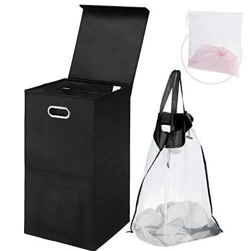 Greenstell Wäschekorb mit abnehmbaren Wäschesäcken, Faltbarer Wäschekorb mit Deckel und ovalen Griffen für einfache Bewegung, Wäschekorb für Schlafzimmer, Waschküche, Balkone (schwarz 1 Stück)