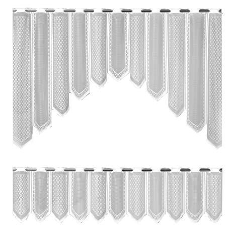Bistro-Bogen Scheibengardine 2324 | 2 teiliges Set weiß Küchengardine | Gardine Panneau Breite 150cm