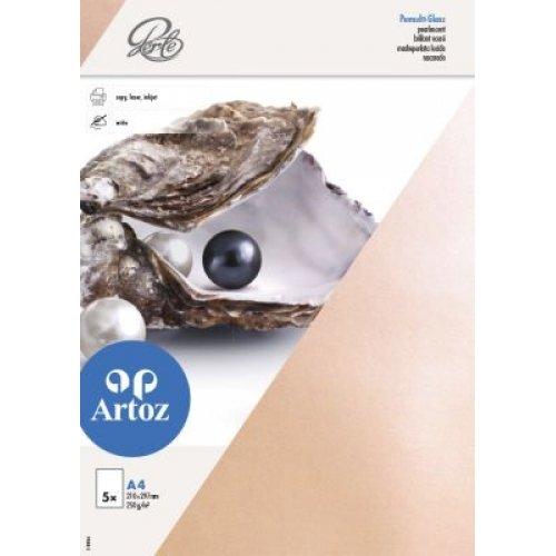 Artoz Papier AG - Perle Karte A4 einfach 5er-Pack pfirsich