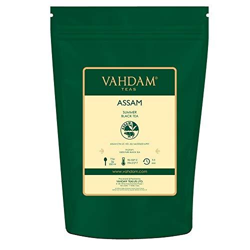 Foglie di tè nero Assam (200+ tazze), FORTE, MALTA E RICCO, tè sfuso, 100% puro non miscelato, foglia nera singola sfusa, tè caldo, tè freddo, tè Kombucha, foglia lunga foglia FTGFOP1, 454gr