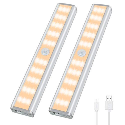 Schrankleuchte mit Bewegungsmelder 30 LEDs Schrankbeleuchtung 3 Helligkeitsstufen Schranklicht Wiederaufladbar Kabellos 4 Magnetstreifen Warmweiß 2 Stück YOHAYO
