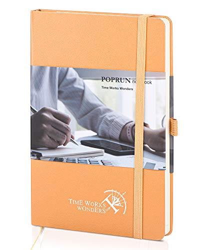 POPRUN Cuaderno Punteado Bullet Journal A5 de Tapa Dura - Libreta Puntos con 3 Índice y 235 Páginas Numeradas, Bucle de Lápiz y Bolsillo, Naranja