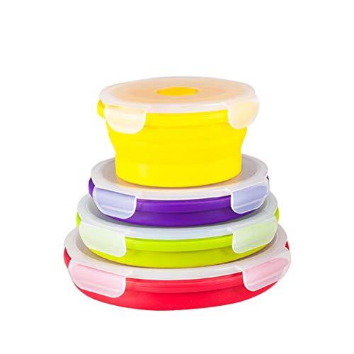 AIHOME Juego de 4 fiambreras Plegables, Silicona, Plegable, para microondas, portátil, para Almuerzo, calefacción, Fiambrera, Cuenco, Bandeja Plegable