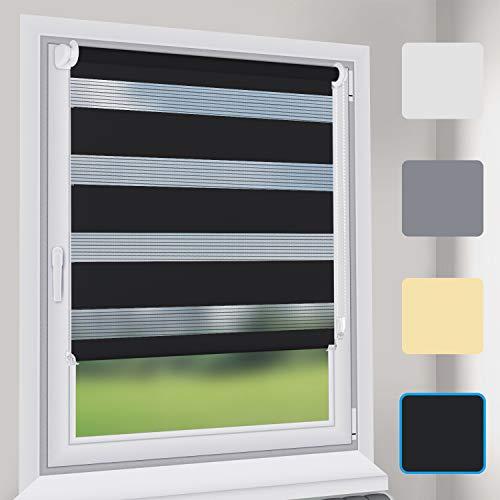 Sekey Store Enrouleur Jour Nuit sans Perçage 50cm x 150cm Noir Stores zébrés de Protection Solaire Facile à Installer avec Clips pour Fenêtre ou Porte