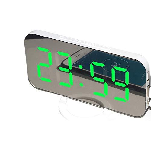 ACAMPTAR LED-Digitalwecker mit Gro?Em 6,5-Zoll-Easy-Read-Display, Easy-Snooze-Funktion, Dimmmodus, Spiegelfl?Che, Zwei USB-LadeanschlüSsen