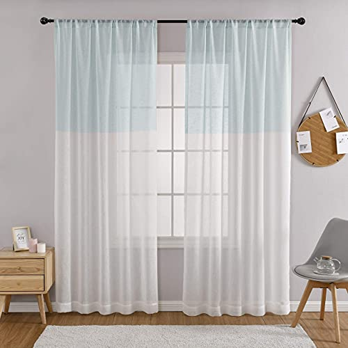 MYSKY HOME White and Blue Stripe Sheer Color Block Curtains Set of 2 Panels Linen Drape Treatment 84 Inches Long for Bedroom Living Room Farmhouse with Rod Pocket, Blue
