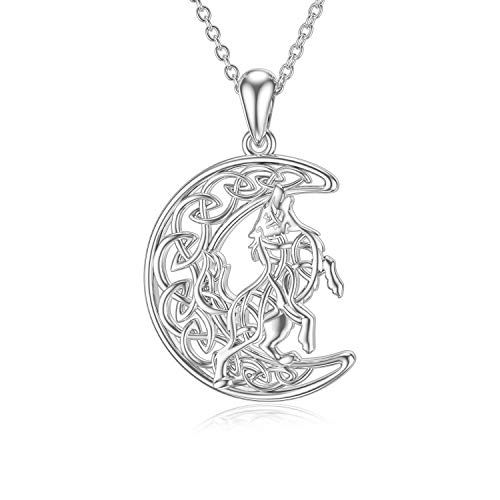 LEECCI Wolf Pendant Necklace 925 Sterling Silver Celtic Moon Necklaces Wolf Jewelry for Women Girlfriend Wife (Celtic Wolf)