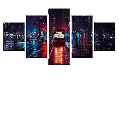 YB bus vrije tijd 5 gevechten modern abstracte slaapkamer woonkamer sofa achtergrond wanddecoratie schilderij kunst canvas schilderij schilderij kern + frame 30x40cmx2 30x60cmx2 30x80cmx1
