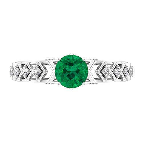 Piedra natal de octubre – Anillo solitario de turmalina verde de 6 mm con moissanita de 1,10 quilates, anillo de compromiso de piedra lateral, oro de 10 quilates blanco