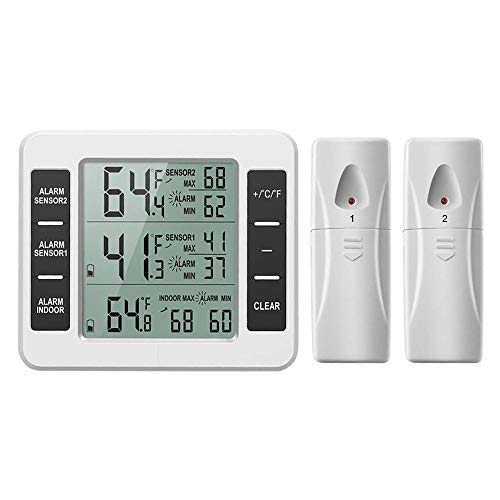 DAGIV Thermometers Koelkast Thermometer Digitale Vriezer Thermometer met Indoor Temperatuur Monitor 2 Draadloze Sensoren Koelkast Audible Alarm Kleur: wit