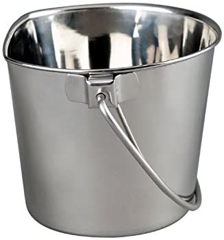 Advance Pet Products Heavy Stainless Steel Flat Side Bucket 2-Quart