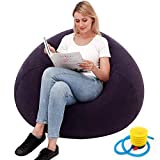 Bean Bag Gamer Recliner, Outdoor Inflatable Lazy Sofa Washable Living Room Lounger Bedroom Bean Bag Chair Ultra Soft No Filler Home Decoration Couch,Flocking Inflatable Sofa Chair (Blue)