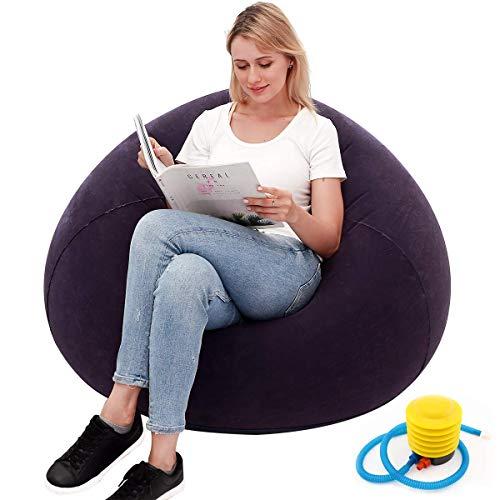 Sitzsack für Gamer, aufblasbares Sofa, waschbar, für Wohnzimmer, Liege, Schlafzimmer, Sitzsack, sehr weich, ohne Füllstoff, Heimdekoration, Couch, beflockt, Blau