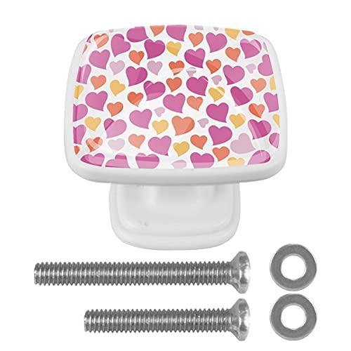 (4 piezas) pomos de cajón para cajones, tiradores de cristal para gabinete, hogar, oficina, armario, divertido patrón de corazón, rosa, amarillo, naranja, 35 mm