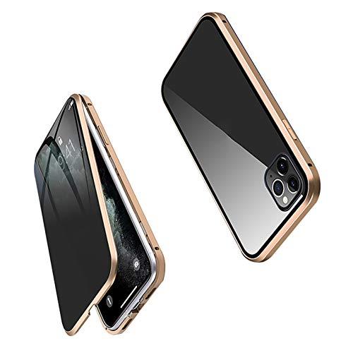 XWCG Carcasa Anti-Pío para iPhone 12/12 Mini/12 Pro MAX Funda Adsorción Magnética 360 Grados Protección Carcasa Vidrio Templado Frontal y Posterior Case,Oro,12Mini