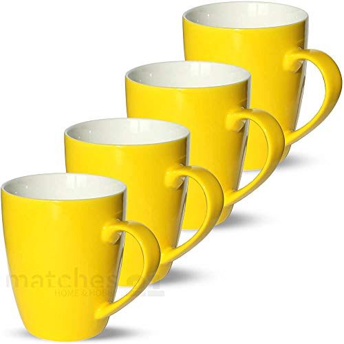 matches21 Tassen Becher Kaffeetassen Kaffeebecher Uni einfarbig gelb Porzellan 4er 10 cm / 350 ml - ohne Tassenhalter