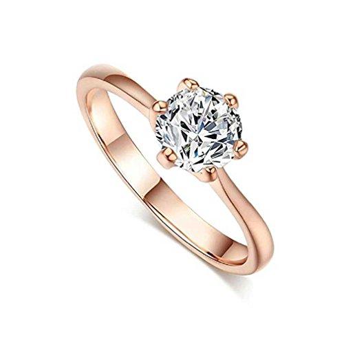 Liquidazione offerte, Fittingran Anelli di zircone a Forma di Diamante con Sei Anelli di Fidanzamento (9, Oro Rosa)