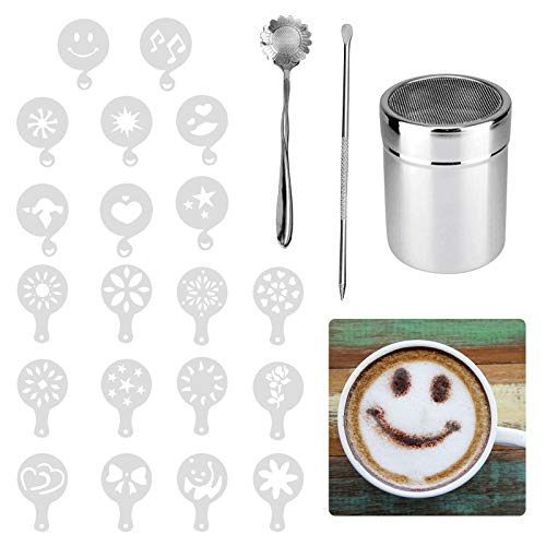 Matogle Chocolate Shaker Cappuccino Edelstahl mit Deckel Pulver Sprinkler für Kaffee Puderzucker Kakao mit 16 Kaffeeschablone Plus Cat Kaffeelöffel