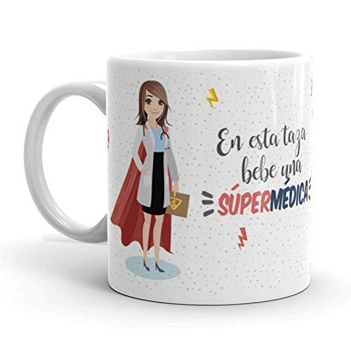 Kembilove Taza de Café Médica – En Esta Taza Bebe una Súper Médica – Taza de Desayuno para la Oficina – Taza de Café y Té para Profesionales – Taza de Cerámica Impresa – Tazas de 350 ml Médicas